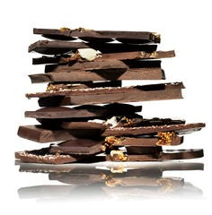 Close-up stack of chocolate candy pieces on white background
