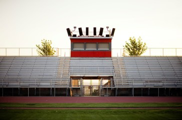 Empty bleachers and sports track