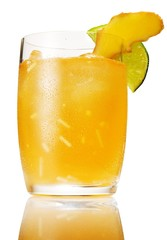 Close-up of cocktail glass with mango and lime garnish