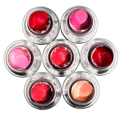 Top view of lipstick containers