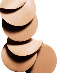 Close up of cosmetic foundation sponges