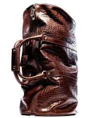 Brown crocodile skin duffel bag