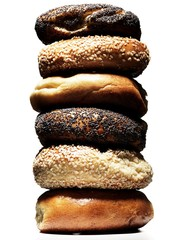 Stack of seeded bagels