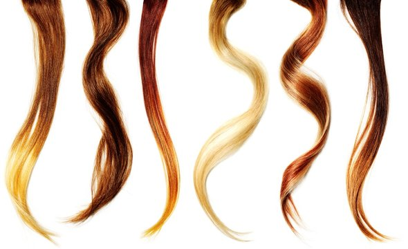 Close up of six strands of various hair colors
