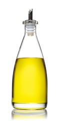Close-up glass bottle of olive oil against white background