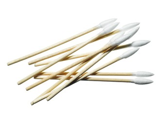 Close-up pile of cotton swabs against white background