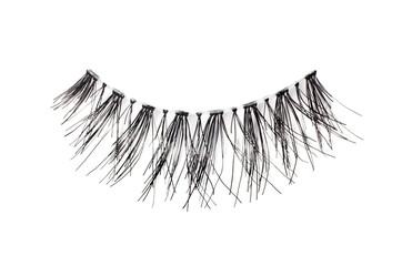 Fake eyelashes against white background