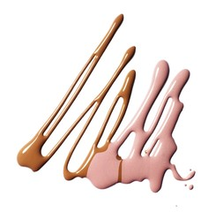 Liquid brown and pink foundation cosmetics against white background
