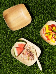 Top view of picnic lunch, fruit salad, watermelon slices, cole slaw, and plates on grass