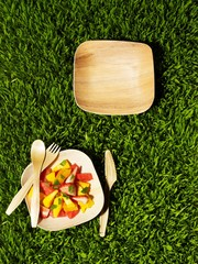 Top view of picnic lunch with fruit salad and plates on grass