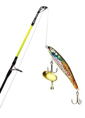 Close-up of fishing rod, lure and hook