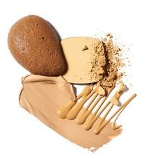Beige liquid foundation and crushed powder cosmetics