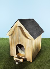 Miniature wooden doghouse with toy dog bone and food bowl