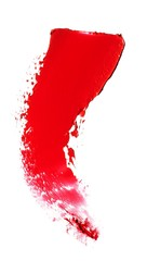 Close-up of smeared red lipstick on white background