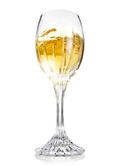 Close-up of white wine in a wine glass against white background
