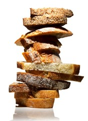Stack of various bread slices