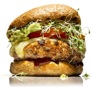 Close up of chicken patty burger with cheese and alfalfa sprouts bun