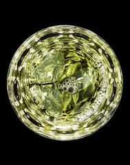 Top view of alcohol cocktail in glass