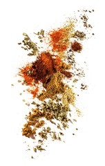 Crushed curry powder on white background
