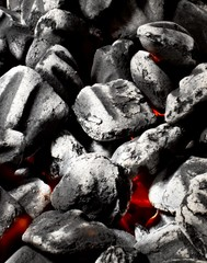 Close up of burning coal red embers