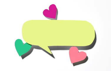 Isolated of yellow paper speech bubble and colorful hearts