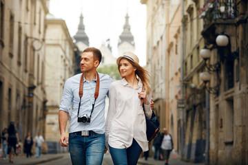 Travel. Tourist Couple Traveling, Walking On Street