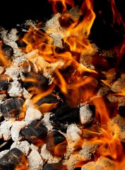 Close-up of burning coal with flames