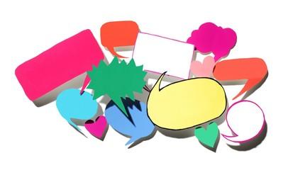 Pile of colorful paper speech bubbles