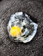 Close-up of egg yolk frying