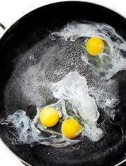 Top view of three eggs frying in skillet