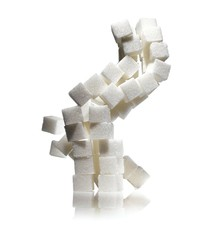Stack of white sugar cubes