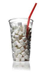 White sugar cubes in clear plastic cup with drinking straw against white background