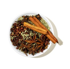 Bowl of star anise, cinnamon sticks and spices