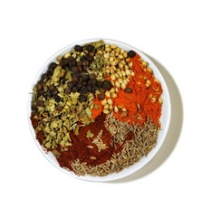 Bowl of powdered spices with seeds and chili powder