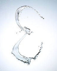 Letter E splashing water against white background