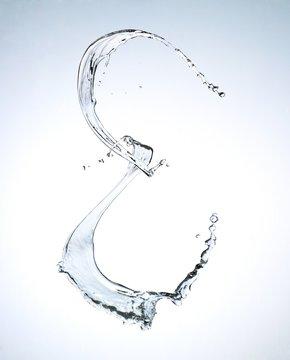 Letter E splashing water against white background