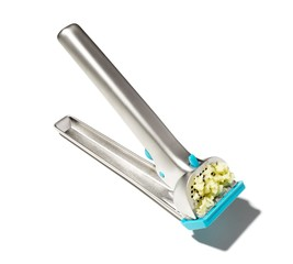 Garlic press crushing garlic clove
