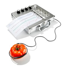 Tomato with electrode and lie detector machine against white background