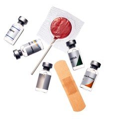 Adhesive bandage, vaccine bottles and lollipop