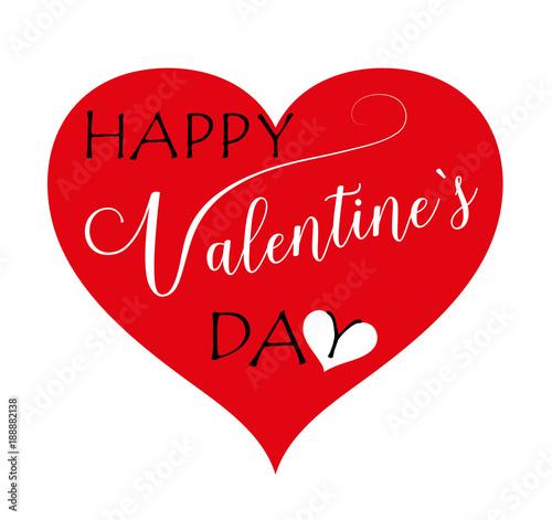 Happy Valentines Day Herz, Herz Mit Valentinstag Grüße Vektor Illustration  Isoliert Auf Weißem Hintergrund