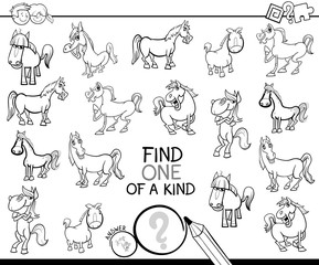 one of a kind game with horses coloring book