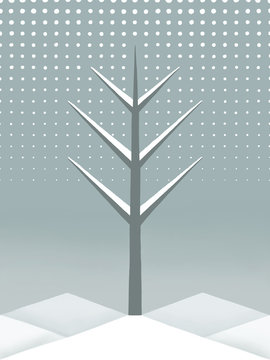 Tree in Winter with Abstract Snow