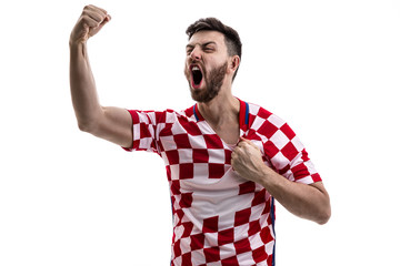 Croatian athlete / fan celebrating on white background