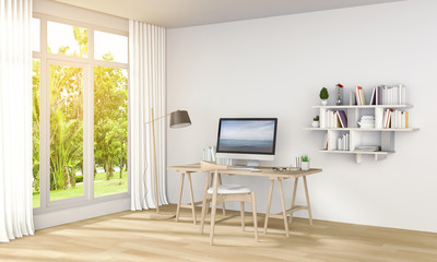 3D rendering of interior modern living white room workspace with desk and laptop computer and green landscape in window.
