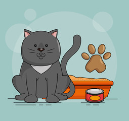 cute cat with sand vector illustration design