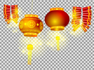 chinese lanterns and firecrackers on transparent background