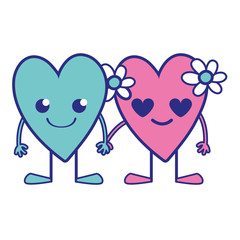 full color nice hearts couple kawaii with arms and legs