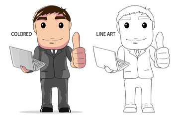vector illustration businessman hold laptop and thumbs up poses