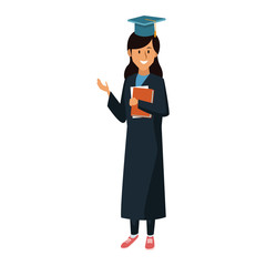 Student woman with graduation gown icon vector illustration graphic design