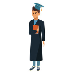 Young man student with graduation gown icon vector illustration graphic design